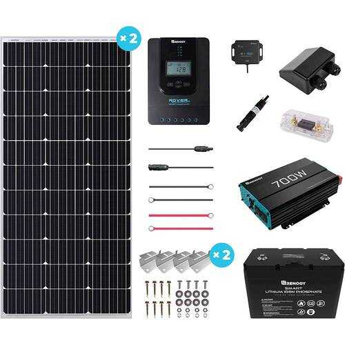 Rent to own Renogy - Mountable Solar Panel Kit (Inverter, 100W Panel x2, 100ah Lithium Ion Battery & Accy's) - Black